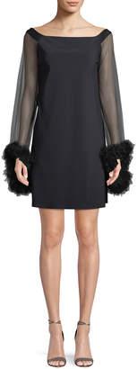 Chiara Boni Chiyo Mini Dress w/ Long Tulle Sleeves