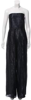 Oscar de la Renta Wide-Leg Metallic Jumpsuit Black Wide-Leg Metallic Jumpsuit