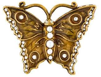 Valentino Faux Pearl & Crystal Butterfly Brooch
