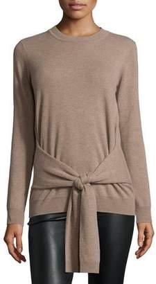 Autumn Cashmere Cashmere Tie-Front Crewneck Sweater $191 thestylecure.com