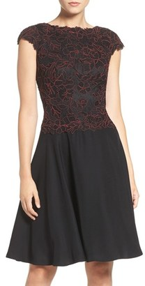 Tadashi Shoji Embroidered Lace Fit & Flare Dress $368 thestylecure.com