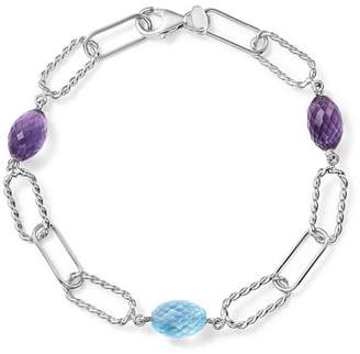 Bloomingdale's Amethyst and Blue Topaz Twisted Link Bracelet in Sterling Silver - 100% Exclusive