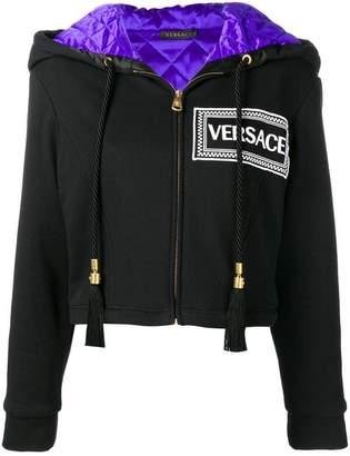 Versace cropped logo hoodie