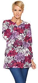Denim & Co. Floral Printed Fleece V-neck Tunicwith Pockets