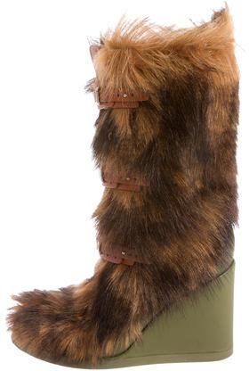 CelineCéline Shearling Wedge Boots