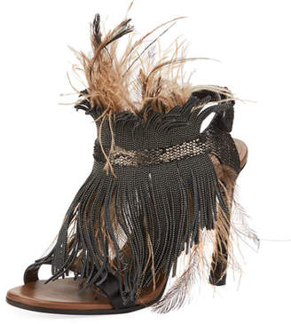 Brunello Cucinelli Monili and Feather Sandal