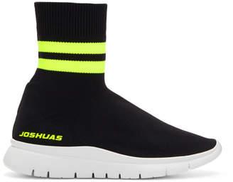 Joshua Sanders Black and Yellow Jump Neon Striped Sock Sneakers