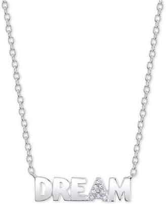 "Unwritten Cubic Zirconia ""Dream"" 18"" Pendant Necklace in Sterling Silver"