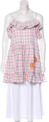 Innika Choo Linen Plaid Cold-Shoulder Dress