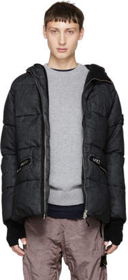 Stone Island Black Down Hooded Jacket