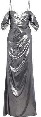 J. Mendel J.mendel Cold-Shoulder Ruched Silk-Lamé Gown
