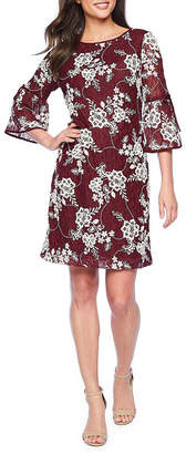 Studio 1 3/4 Bell Tie Sleeve Floral Lace Shift Dress
