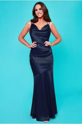 Goddiva Vicky Pattison Navy Cowl Neck Strappy Back Maxi Dress