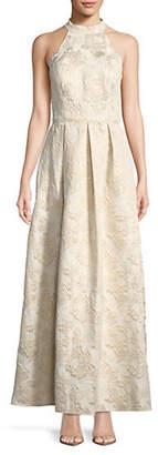 IGNITE EVENING Brocade Sleeveless Halter Gown