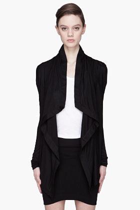 Helmut Lang HELMUT Black Kinetic Jersey Draped Cardigan