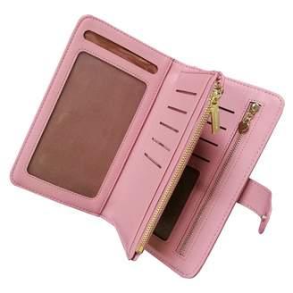 Women Wallet Purse Ladies Handbag, Aeeque Girls PU Leather Crossbady Bag Women Clutch Shoulder Bag Zipper Wallet Case with Wrist Strap for iPhone XS Max XR X 8 7 6s/Samsung Note 9 8 S9 S8 S7 J3, Black