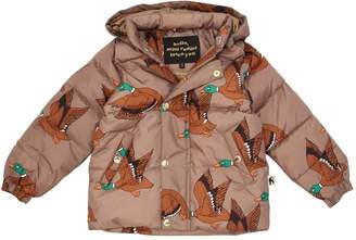 Mini Rodini Duck Printed Hooded Nylon Puffer Jacket