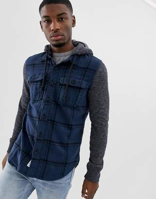 Hollister check flannel shirt with jersey hood in navy