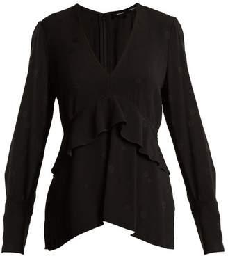 Proenza Schouler V Neck Long Sleeved Jacquard Top - Womens - Black