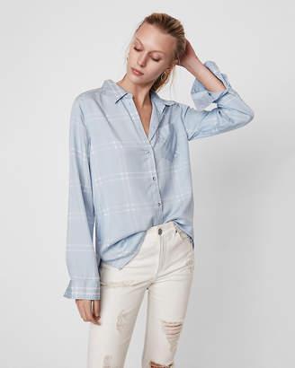 Express One Pocket Plaid Boyfriend Shirt