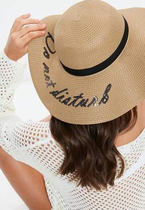 Missguided Tan Do Not Disturb Sequin Graphic Straw Hat
