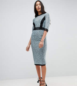 Little Mistress Tall Lace Midi Pencil Dress With Contrast Panel