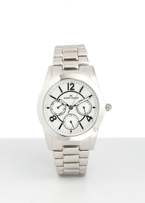 Slivertone Link Bracelet Watch