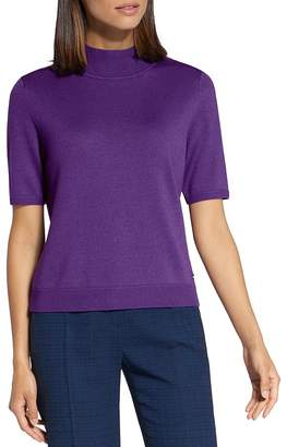 Basler Short-Sleeve Mock-Neck Knit Top