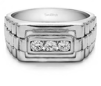 TwoBirch Brilliant Moissanite Mounted in Sterling Silver Moissanite Wide Men's Ring with Open End Design(0.89crt)