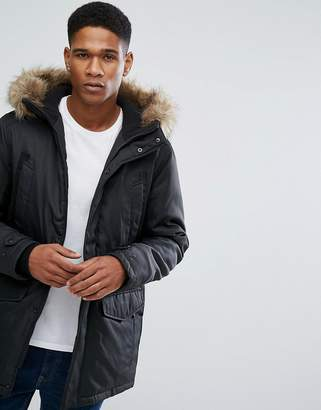 Jack and Jones Core Parka with Fleece Lined Hood and Faux Fur Trim