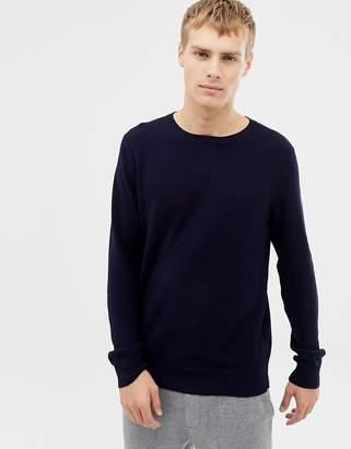 J.Crew Mercantile crew neck pique knit sweater in navy
