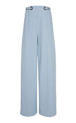 Rosetta Getty High-Rise Grommet Cotton-Blend Wide-Leg Trousers