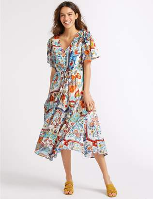 Marks and Spencer Floral Print Half Sleeve Tea Midi Dress