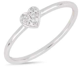 Bony Levy 18K White Gold Pave Diamond Heart Stackable Ring - 0.04 ctw