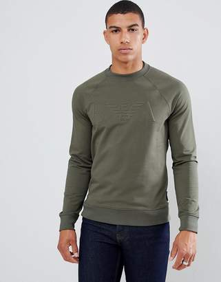 Emporio Armani embossed logo crew neck sweat in khaki