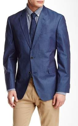 Tommy Hilfiger Blue Woven Chambray Classic Fit Jacket $295 thestylecure.com
