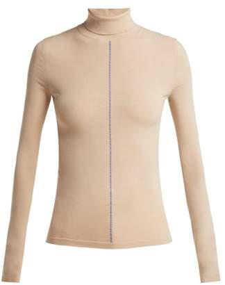 Maison Margiela Contrast Stitch Roll Neck Sweater - Womens - Beige
