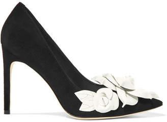 Sophia Webster Jumbo Lilico Floral-appliquéd Suede Pumps - Black