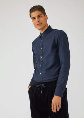 Emporio Armani Shirt In Micro Patterned Pure Cotton With Detachable Collar