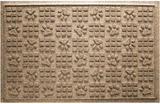 Bungalow Flooring Aqua Shield Dog Paw Squares Doormat Camel