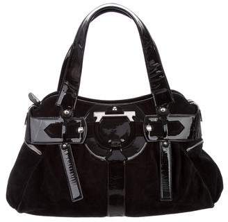 Salvatore Ferragamo Patent Leather-Trimmed Suede Shoulder Bag