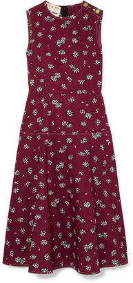 Marni Floral-print Cotton-poplin Midi Dress - Burgundy