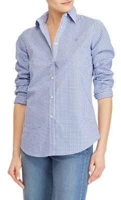 Lauren Ralph Lauren Petite Checked Stretch Button-Down Shirt