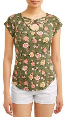 31b8e00037f3e No Boundaries Juniors' Floral Printed Caged V-Neck Crochet Lace Back T-Shirt
