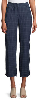 Eileen Fisher Plaid Silk Straight-Leg Ankle Pants