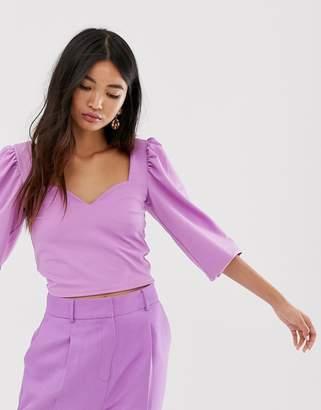 Asos Design DESIGN sweetheart neck with volume sleeve top in purple