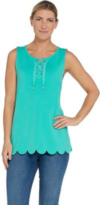 Isaac Mizrahi Live! Lace-up Tank Top with Scallop Hem