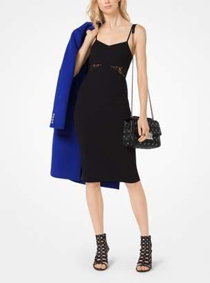 MICHAEL Michael Kors Lace-Panel Crepe Slip Dress