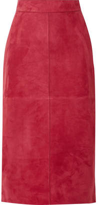 Fendi Suede Midi Skirt - Red