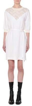 Stella McCartney Elbow-Sleeve Belted Shift Dress w/ Lace Yoke